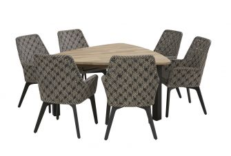4SO Savoy Tuinset 6 personen driehoek 152x152cm
