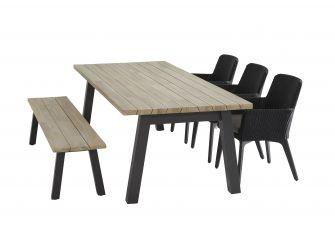 4SO Lisboa Anthracite Tuinset 6 personen 240x100cm